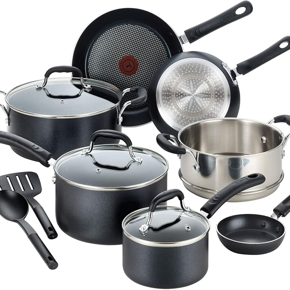 T-fal Professional Nonstick Dishwasher Safe Cookware Set, 12-Piece, Black