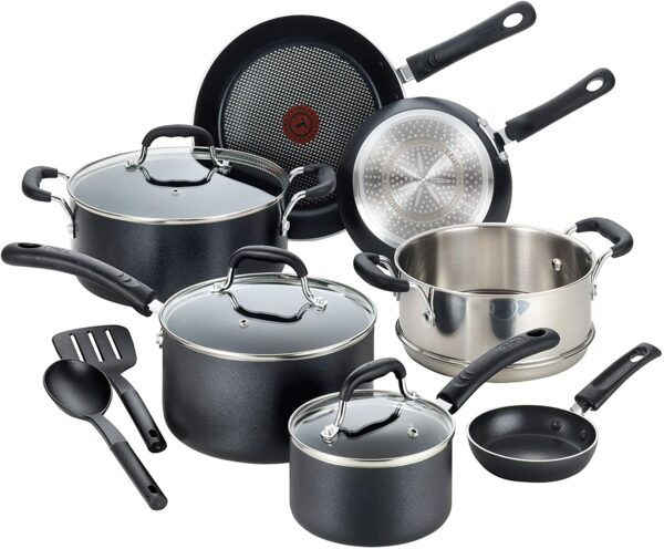 T-fal Professional Nonstick Dishwasher Safe Cookware Set, 12-Piece, Black